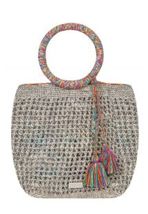 Hand-made bag, round handles with silk threads - NACULA