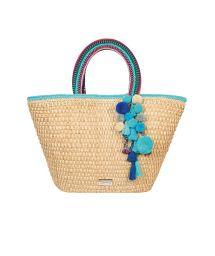 Hand-woven bag with blue pom-poms - SANTORIN