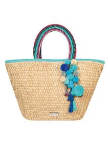 Hand-woven bag with blue pom-poms - SANTORIN