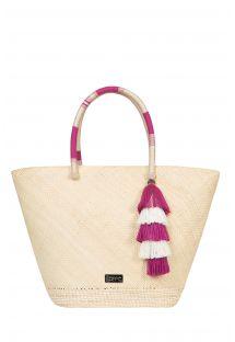 Hand-woven basket Iraca fibre/pink silk threads - SCIACCA