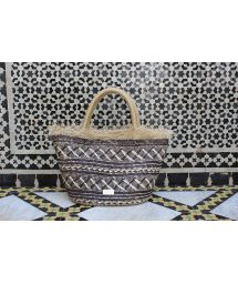Luxury basket in woven natural fibre and leather - SMARA
