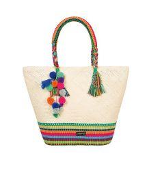 Hand-woven bag, pom-poms and silk threads - SYMI