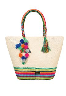 Hand-woven bag, pom-poms and silk threads - SYMI