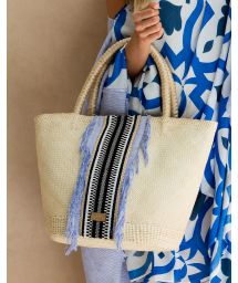 Woven cotton and coloured linen panel tote bag - TICHLA