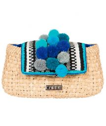 Handcrafted Iraca palm fiber handbag with blue pom poms - TRAPANI