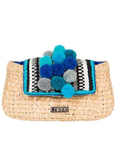 Handgjord väska av Iraca fiber, med blå pompoms - TRAPANI