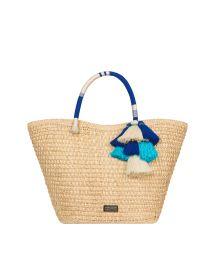 Hand-woven basket Iraca fibre blue pompoms - VITTORIA