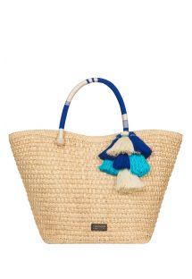イラカヤシ繊維とブルーのポンポンが付いた手織りバスケット - VITTORIA