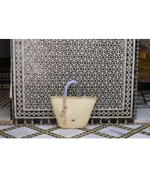 Luxury basket in natural fibre with dual-material handle - ZEMMOUR