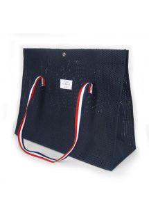 Perforated cotton navy blue tote bag - CABAS PLAGE MARINE