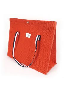Perforated cotton tote bag in dark orange - CABAS PLAGE ORANGE