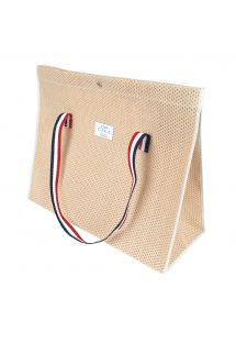 Perforated cotton peach color tote bag - CABAS PLAGE PECHE