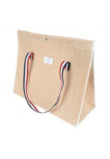 Persikofärgad väska i perforerad bomull - CABAS PLAGE PECHE