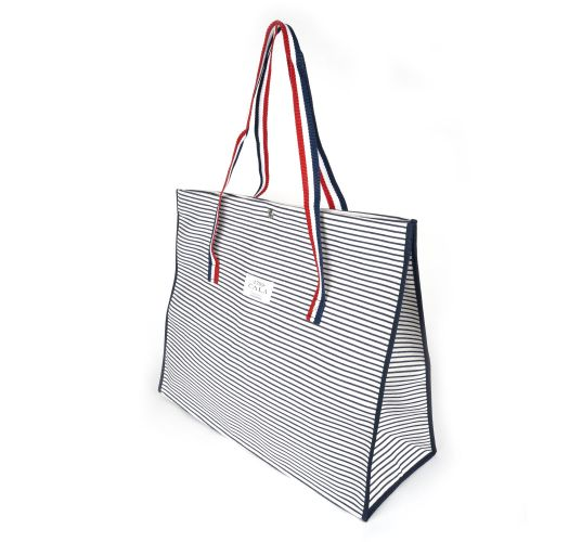 Perforated cotton tote bag with stripe print - CABAS PLAGE RAYURES MARINE