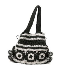 Svart och vit virkad väska - BLACK AND WHITE CROCHET BAG