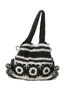 BLACK AND WHITE CROCHET BAG