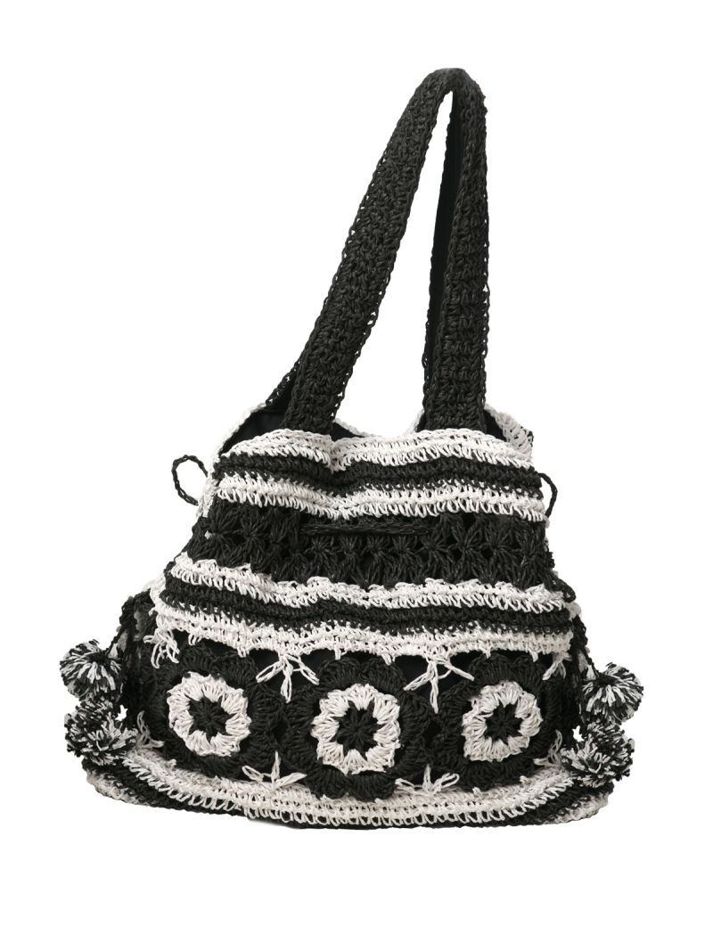 Black and white crochet bag - BLACK AND WHITE CROCHET BAG