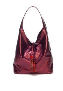 Dark red shoulder bag with pompoms - BOLSA CHARME CARMIM