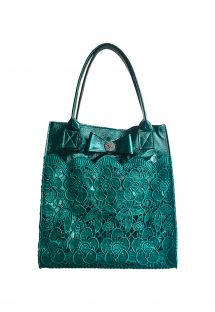 Elegant green leather bag with embroidery - BOLSA RENDA HORTELA