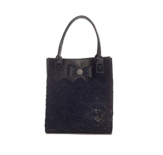 Elegant black leather bag with embroidery - BOLSA RENDA PRETA