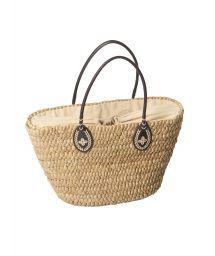 Beach basket bag from natural straw - NATURAL STRAW BAG