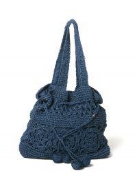Navy crochet bag - NAVY CROCHET BAG