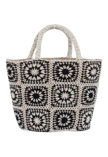 Black and white patchwork straw basket - PANIER COACHELLA BLACK/WHITE