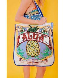 Big beach bag pineapple / flowers - BOLSA ALUA AZUL