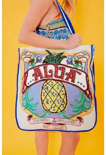 Big beach bag pineapple / flowers - BOLSA ALUA AZUL