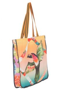Big beach bag toucan / tropical print - BOLSA TUCANO MULTICOLORIDO