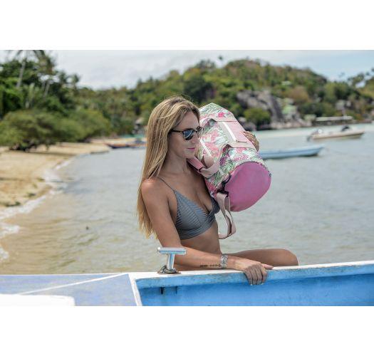 Light pink waterproof sports / travel bag in tropical print - DRY DUFFEL HARMONY MINT