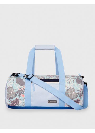Light blue waterproof sports / travel bag in tropical print - DRY DUFFEL ORGANIC TEAL