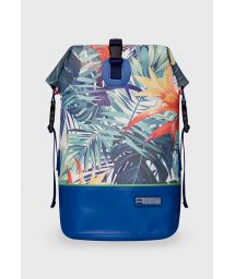 Dark blue waterproof backpack with leaf motif - DRY TANK MINI BOTANIC GREEN