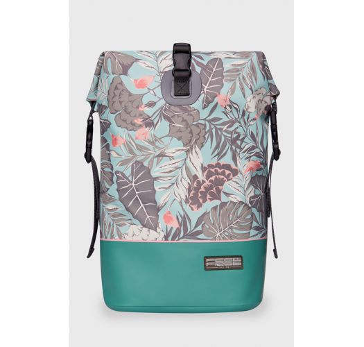 Turquoise waterproof backpack with leaf motif - DRY TANK MINI ORGANIC TEAL
