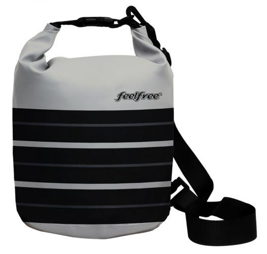 Grey waterproof bag in black stripes 5 L - DRY TUBE 5L PARIS CHIC