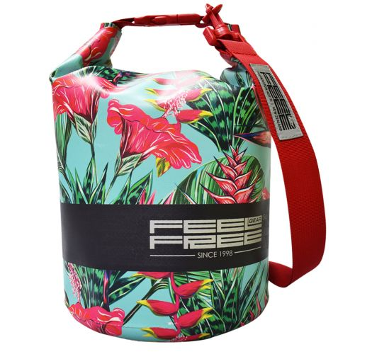 Tropical waterproof bag blue/red 5 L - DRY TUBE 5L TROPICAL TEAL/RED