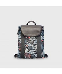Black tropical print waterproof backpack - MINI BACKPACK MID-NIGHT BLACK