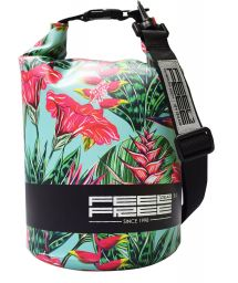 Colorful tropical waterproof bag 3 L - TUBE MINI 3L TROPICAL TEAL/BLACK