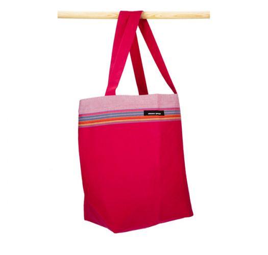 Sac souple en coton kikoy rouge/rose - BEACH BAG KIKOY PHILIPPINES