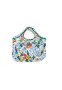 Printed beach bag with green tassels - SOL DO SUDESTE