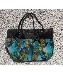 Beach bag with braided handles and a shark pattern - BOLSA TELA SHARKS PRETA