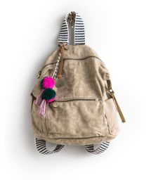 Beige canvas backpack with striped handles - CANVAS BACKPACK
