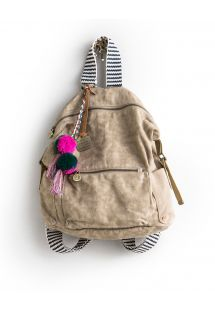 Ryggsekk, beige stoff og reimer med striper - CANVAS BACKPACK