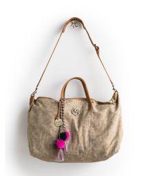 Large beige canvas shoulder bag with pompoms - CANVAS MAAJICAL TOTE