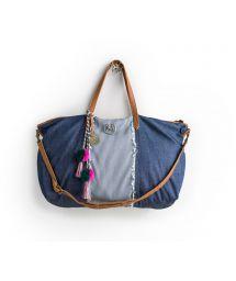 Large blue denim and stripes shoulder bag - DENIM MAAGICAL TOTE