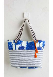 Striped beach bag with blue palm trees and tassels - PALMY BEACH