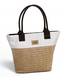 Dual-material shopper-style beach bag - ATALAIA