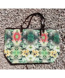 Beach bag with a tropical print - TROPICAL AMAZON BAG