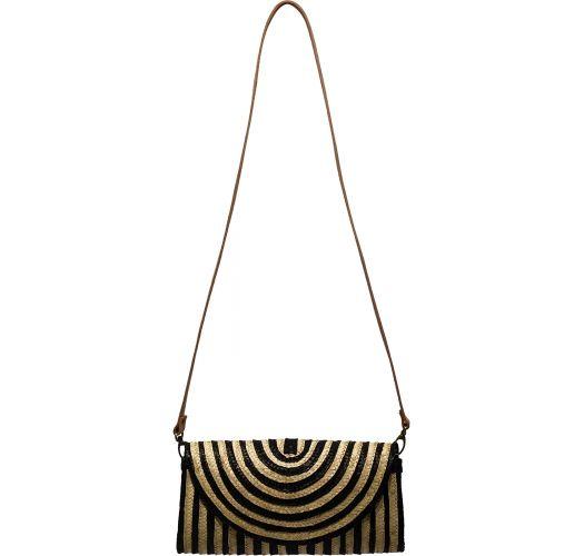 Small crossbody bag made of two-tone natural straw - MINI SAC SALINA BLACK AND WHITE