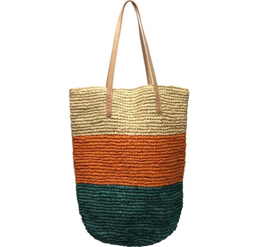 Tricolor natural straw tote bag with leather handles - PANIER IBIZA SUNSET